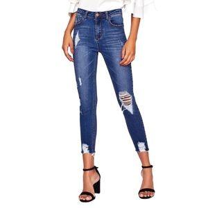 Denim - 💎 Blue distressed raw hem high waisted jeans